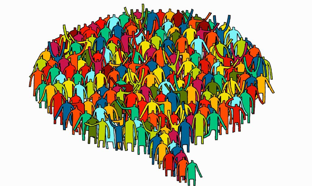People put together as a bubble. Illustration.