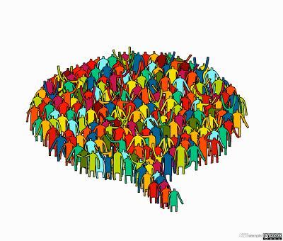 Mennesker satt sammen som en snakkeboble. Illustrasjon.