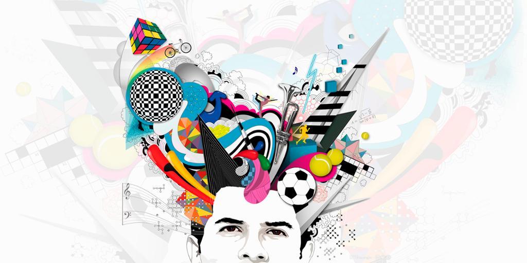 Illustrasjon av person med mange ideer som strømmer ut av hodet. Foto.