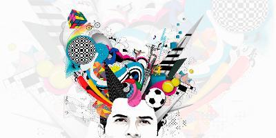 Person med mange ideer som strømmer ut av hodet. Illustrasjon.