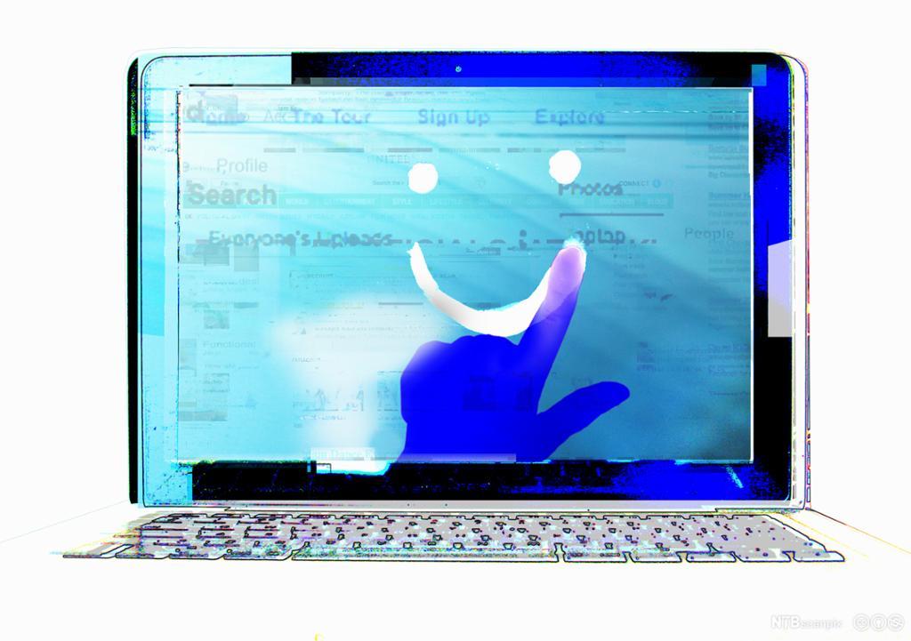 En finger tegner et smilefjes over en skjerm med søkefelt. Illustrasjon.