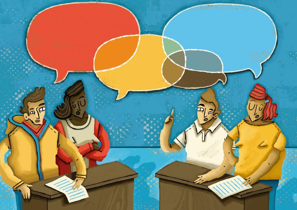 Illustrasjon av fire personer som deltar i en skoledebatt. Illustrasjon.