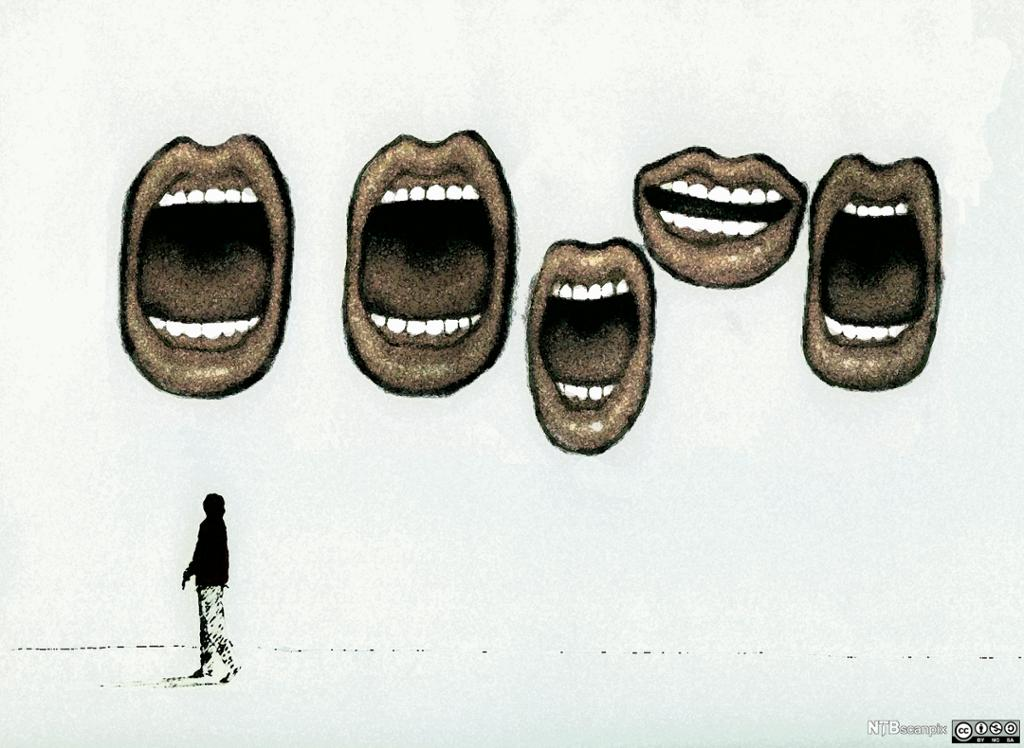 Store muner som snakker til en liten person. Illustrasjon.