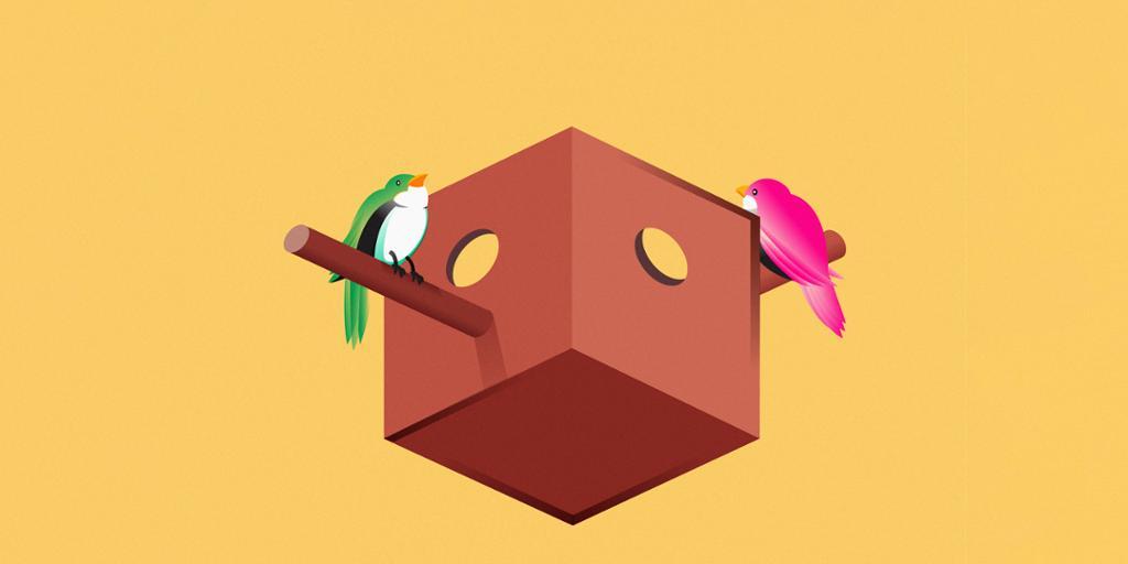 To fugler utenfor en optisk illusjon av en fuglekasse. Illustrasjon.