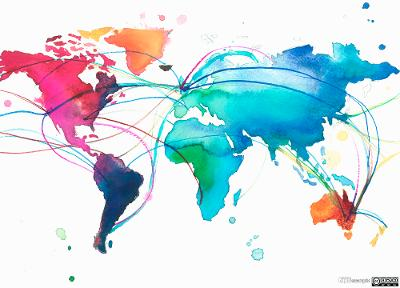 United Kingdom with connections across multicolored world map. Illustration.
