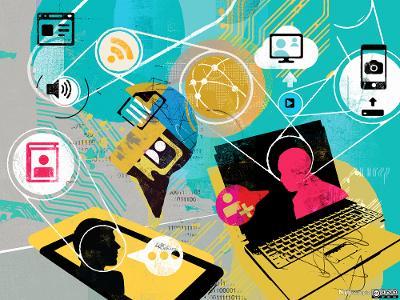 Personer kommuniserer via nettbasert teknologi. Illustrasjoner