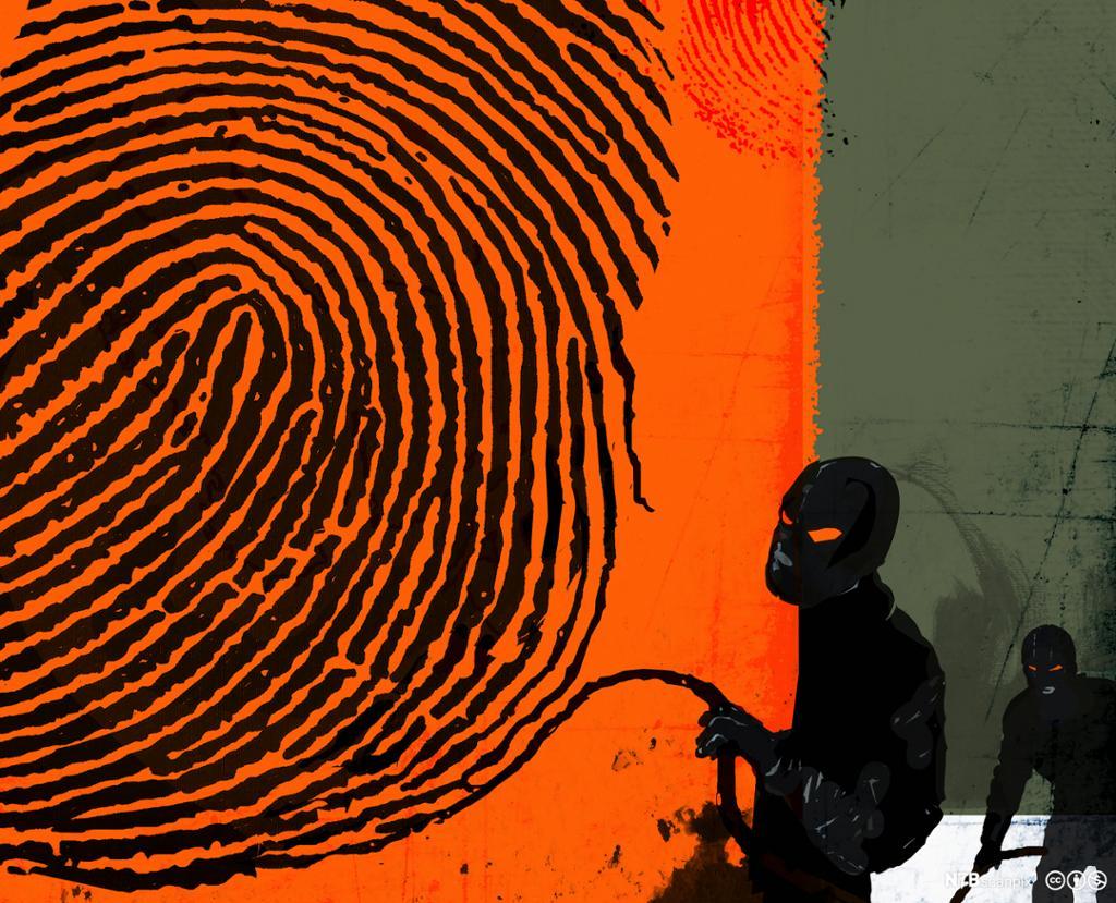 Maskerte røvere stjeler fingeravtrykk. Illustrasjon.