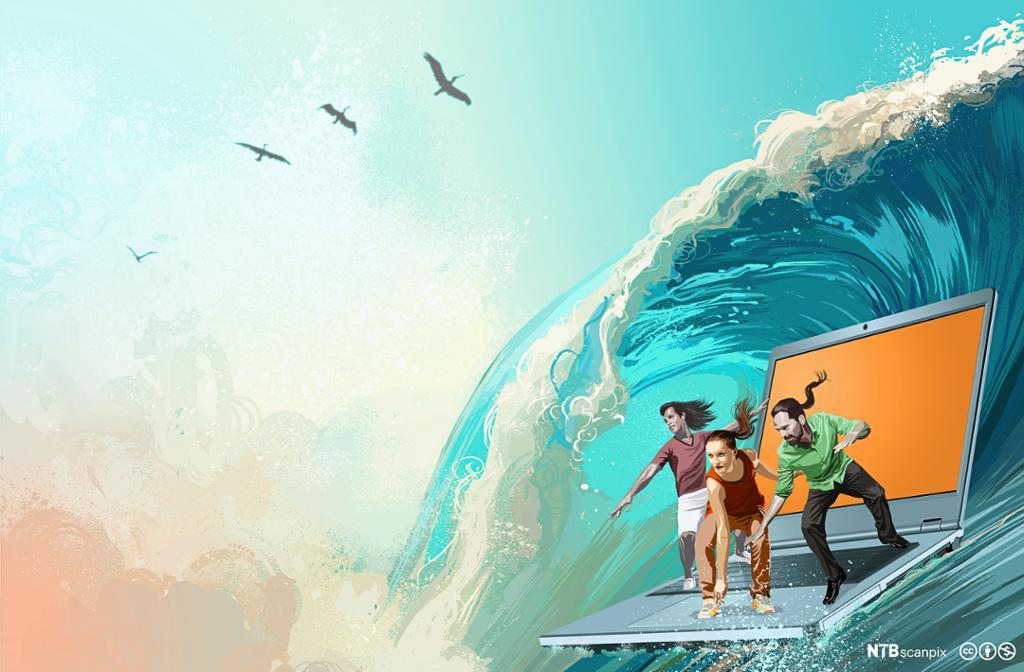 Tre ungdommer surfer en laptop på en bølge. Illustrasjon.