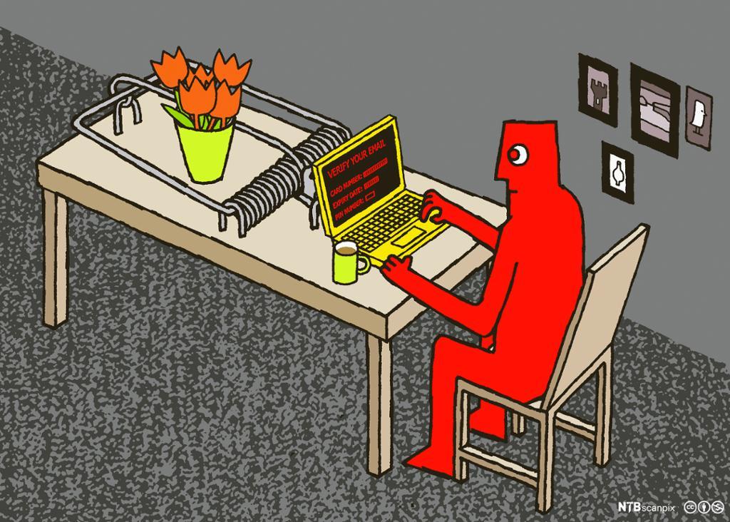 Mann med dårlig passord på laptop fanget i sikkerhetsfella. Foto.