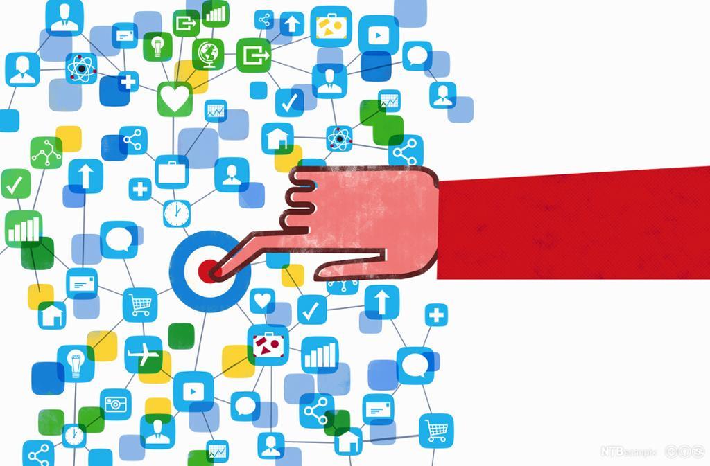 Hånd som trykker en knapp for navigasjon på nett. Grafisk.