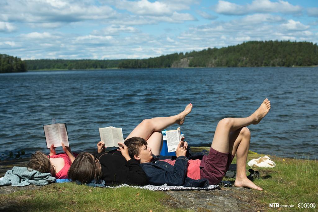Tre personar ligg i graset ved ein innsjø og les. Det er sommar og sol. Skog i bakgrunnen. Foto.
