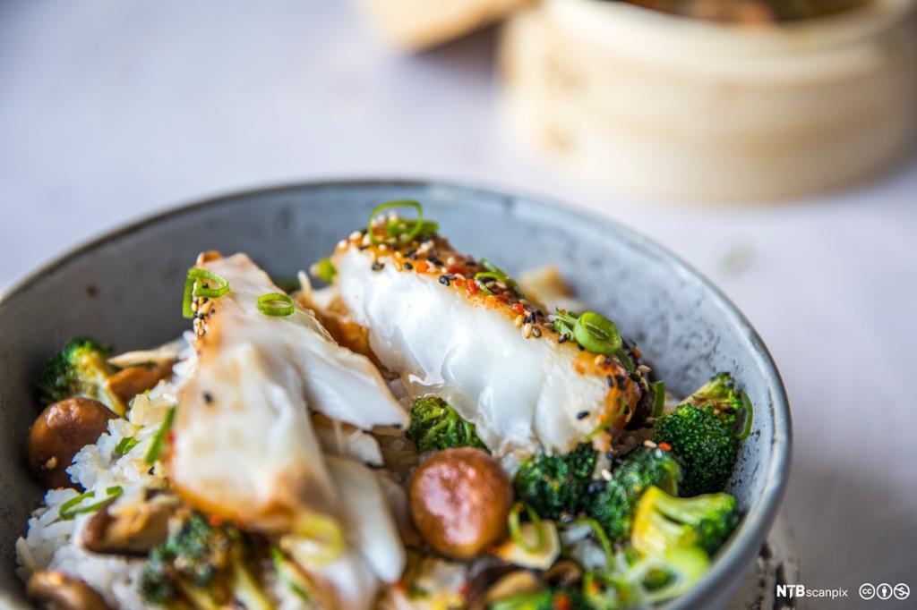 Dampet fisk med salat. Foto.