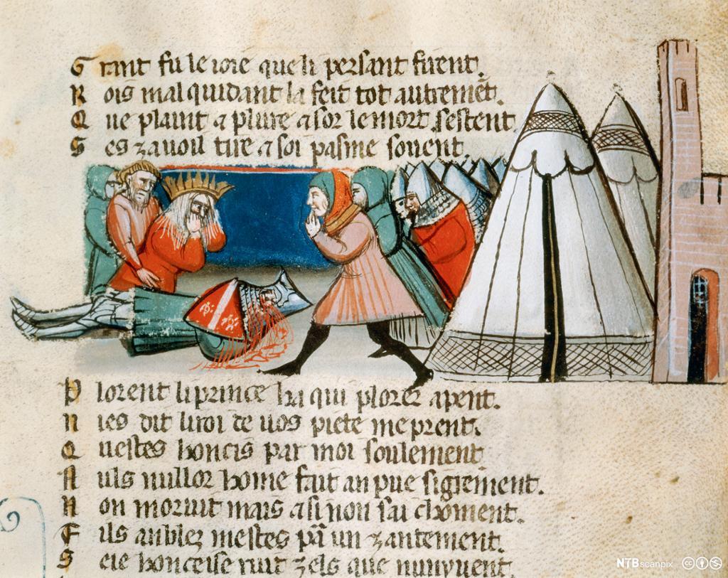 Gammel bokillustrasjon som viser Karl den store som sørger over den døde Roland. Illustrasjon.