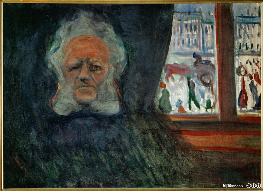 Maleri med portrett av Henrik Ibsen. Foto.