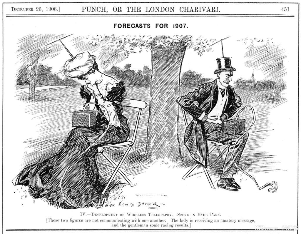 Et par kledt i klær fra begynnelsen av 1900-tallet sitter opptatt med hver sin telegraf med antenne i hatten. Tegning.