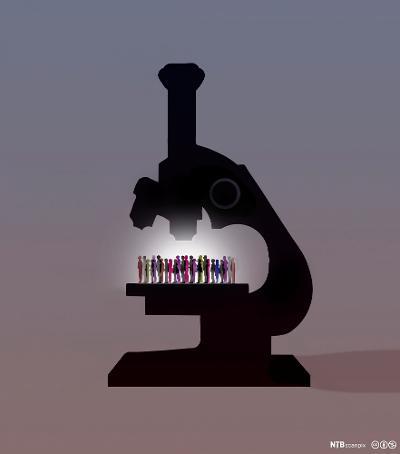Menneskemengde under et mikroskop. Illustrasjon.