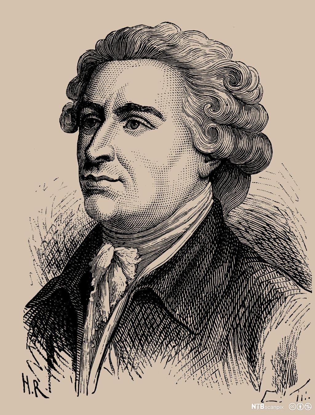 Tegnet portrett av den britiske statsmannen og filosofen Edmund Burke. Trykk.