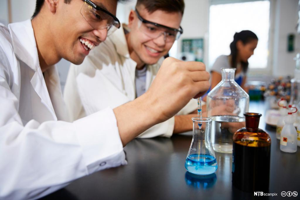 To mannlige elever jobber på kjemilab. Foto.