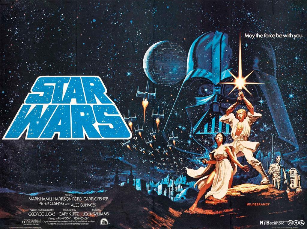 """Filmplakat med teksten """"Star Wars"""" på venstre side. Hvitkledd kvinne og mann står i et øde lansdkap med en storby i bakgrunnen. Mannen holder et lysende sverd opp i luften. På himmelen ser man en rekke romskip, en kunstig planet og et stort hode med sort hjelm. Grafikk."""