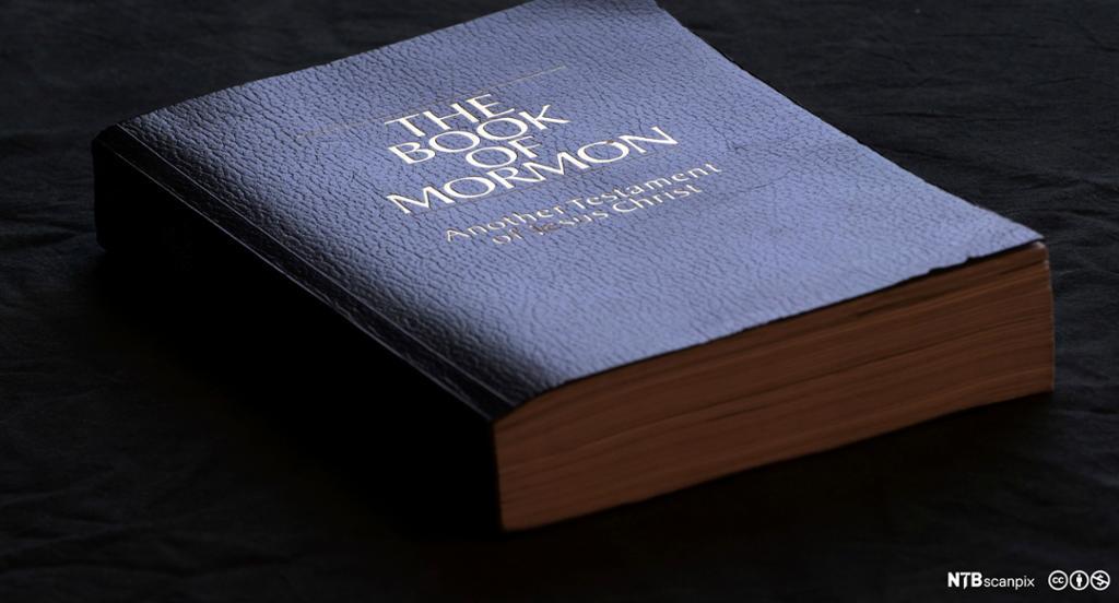 """Blå bok med tittelen """"The Book og Mormon"""". Foto."""