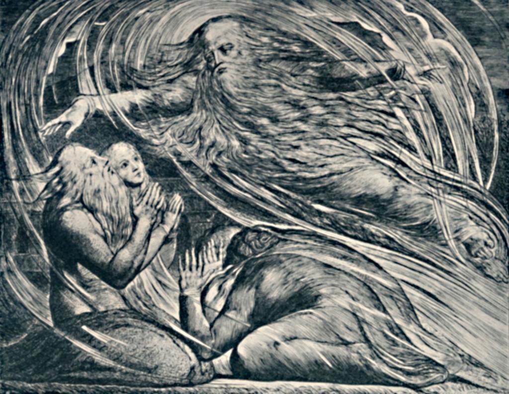 Illustrasjon av William Blake fra 1825. Fra Jobs bok i Bibelen der Gud svarer Job ut av en storm.