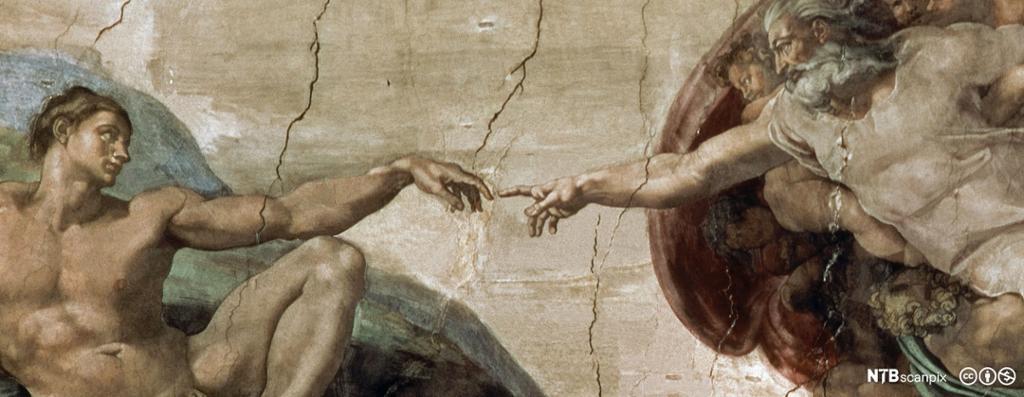 Gus strekker ut en finger som møter fingeren til en mann. Freskomaleri.