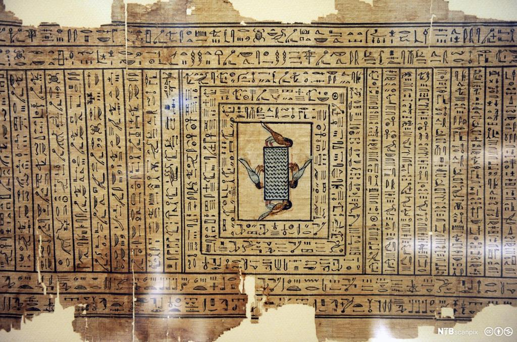 Papyrus med utdrag av De dødes bok av Neferini. Foto.