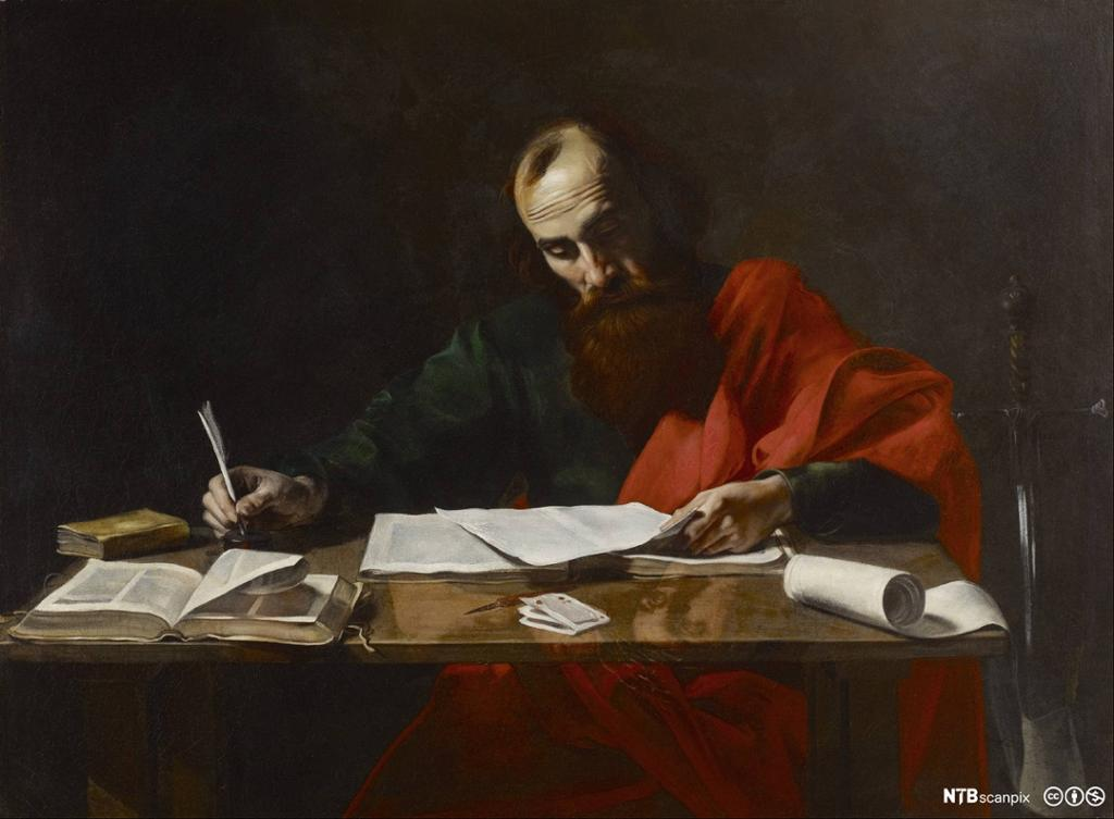 Mann med skjegg sitter ved en pult og skriver. Til høyre står et sverd. Maleri.
