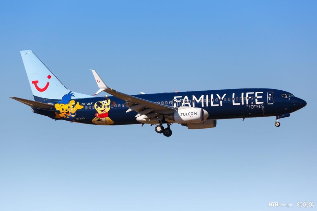 Charterfly i lufta. Foto.
