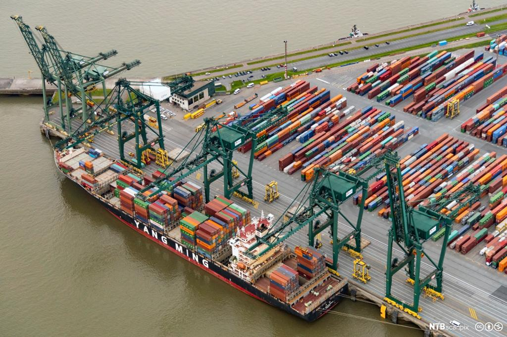 Fugleperspektiv: Containere blir lastet ombord i båt. Foto.