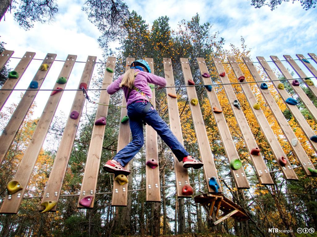 En jente med sikkerhetsutstyr klatrer opp en fjellvegg. Foto.