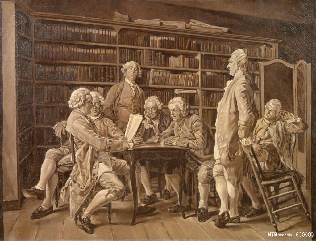 Møte av encyclopedister i biblioteket hjemme hos den franske filosofen Diderot. Maleri.