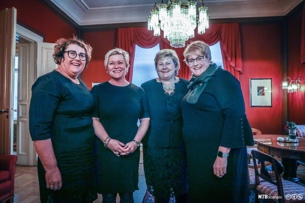 Fire kvinnelige partiledere for Krf, FrP, Høyre og Venstre dagen da firepartiregjeringen ble presentert i januar 2019. Foto.