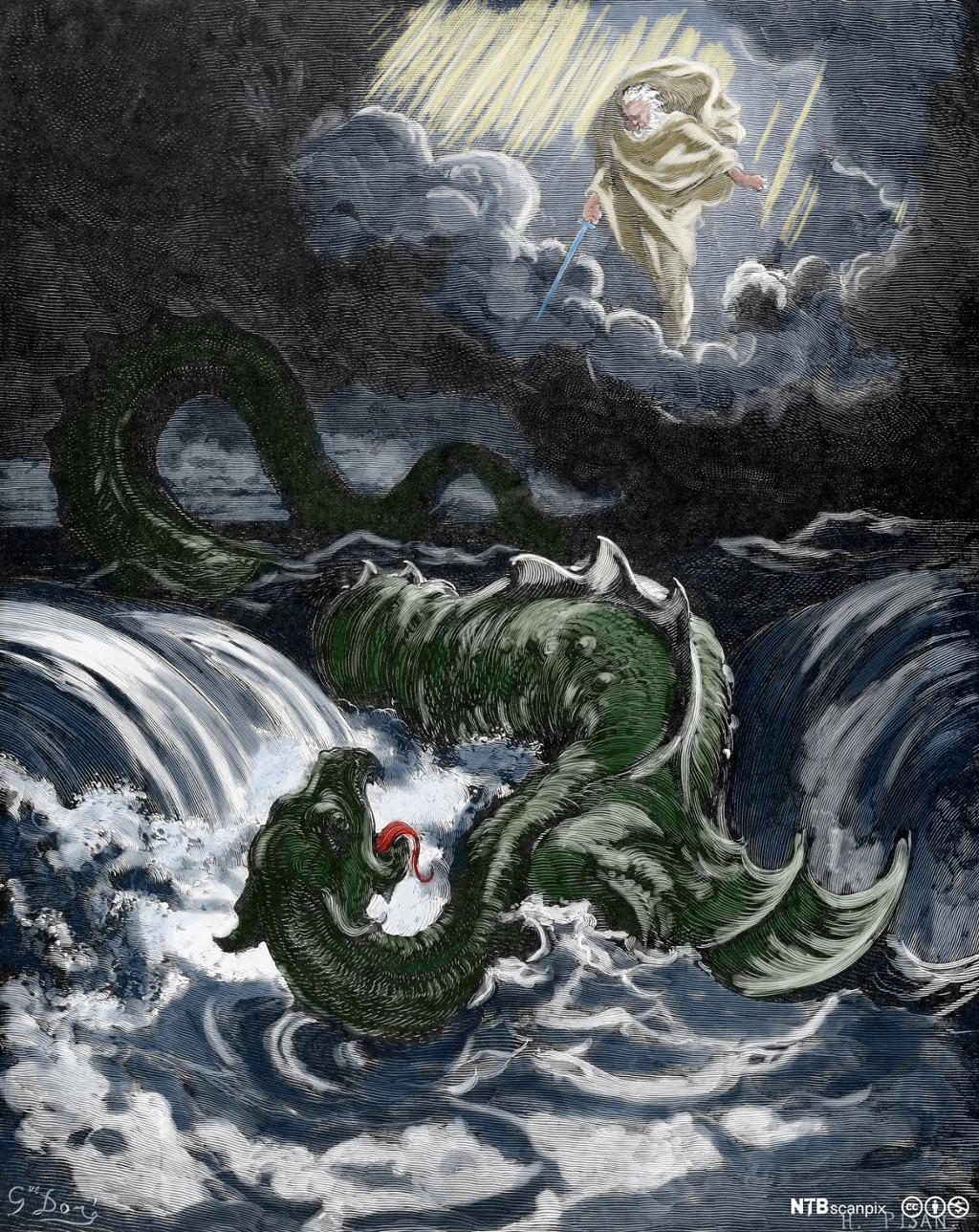 Et svært, grønt sjømonster piske opp havet. I skyen over Gud med sverd i hånda. Illustrasjon.