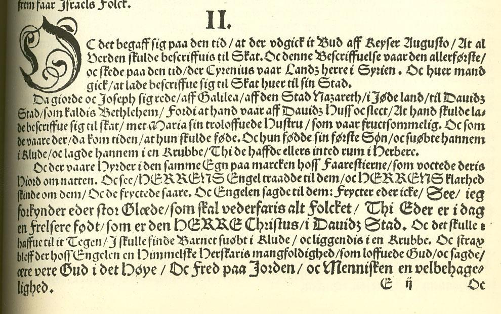 Utdrag fra juleevangeliet i gotisk skrift. Faksimile.