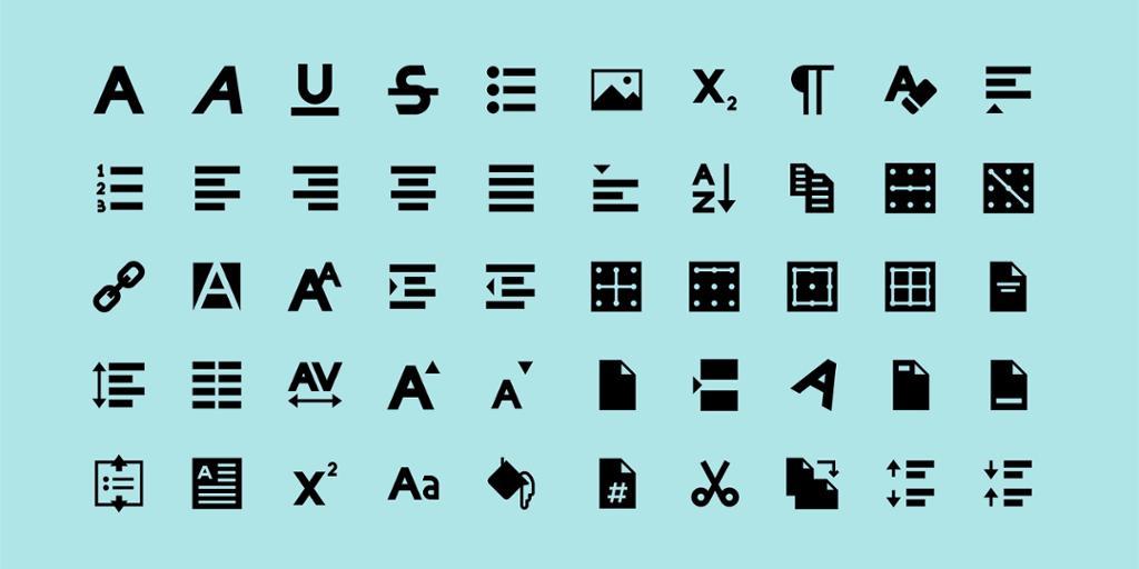Eksempel på verktøyknapper i en teksteditor. Illustrasjon.