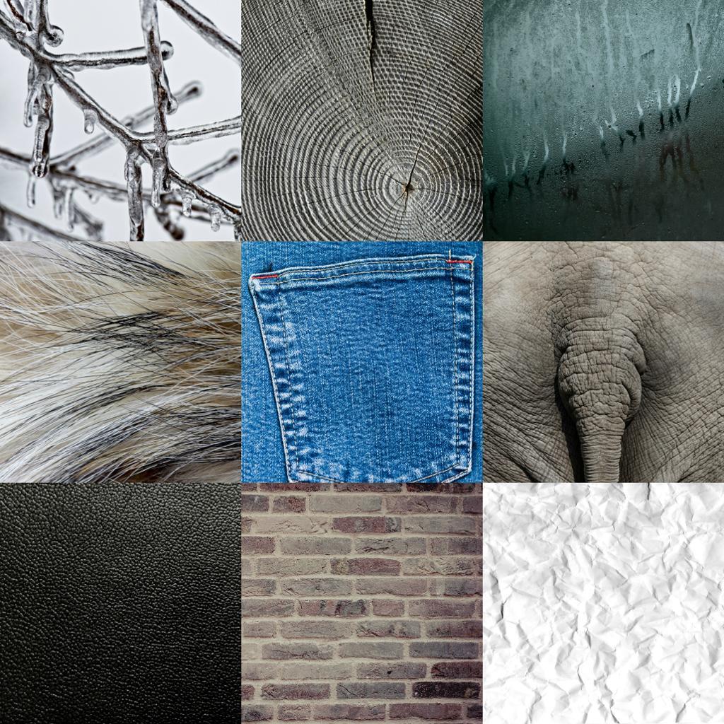 Fotomontsje av ni bilder som viser ulike teksturer. Kollasj.