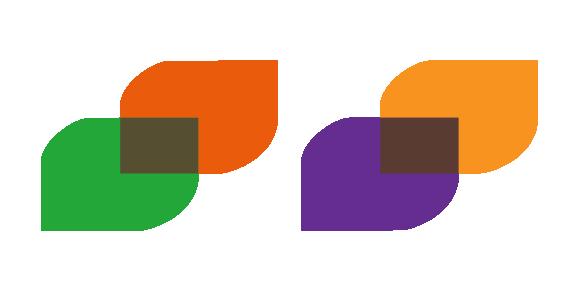 Grønn og orange, orange og lilla. Illustrasjon.