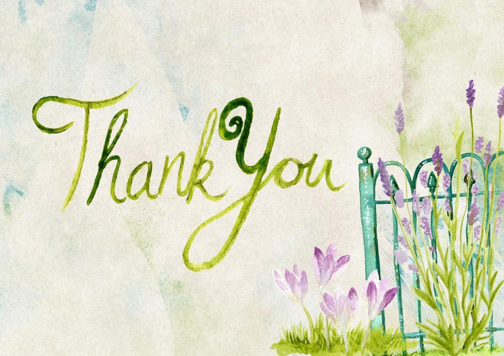 """Maleri av blomster og et gjerde med teksten """"Thank you"""" skrevet med løkkeskrift. Maleri."""