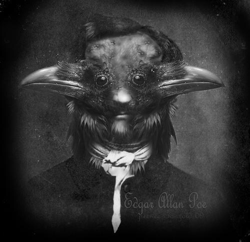 Forfatter Edgar Allan Poe framstilt som sagnfiguren ravnen. Foto.