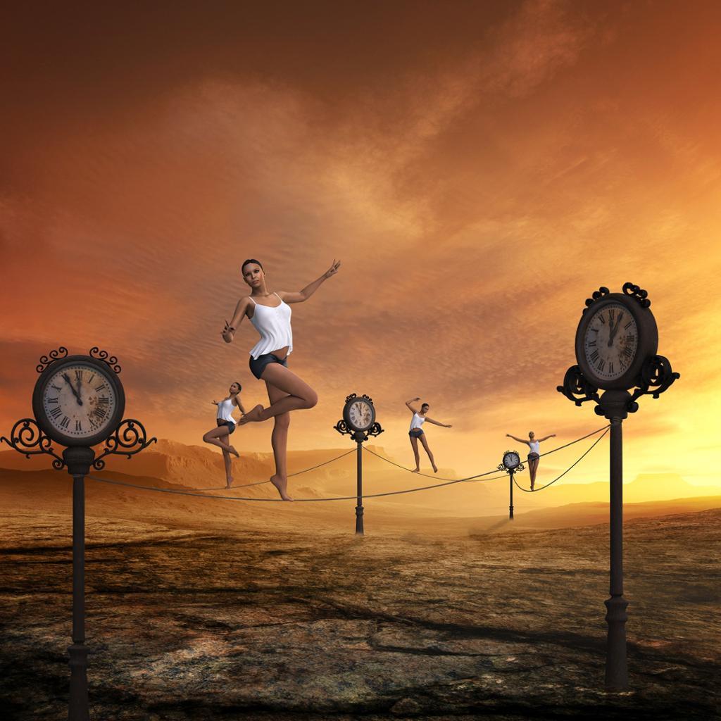 Kvinne balanserer på line mellom klokker. Illustrasjon.