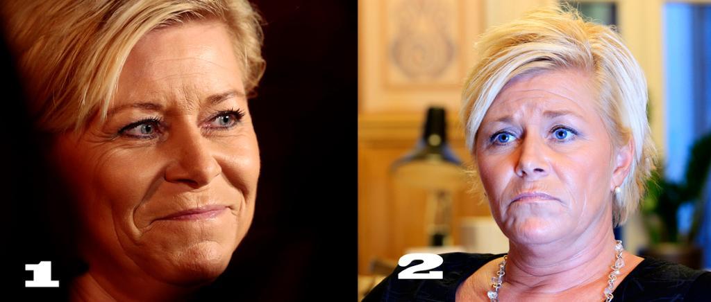 Portrettbilder av en optimistisk (bilde 1) og en trist (bilde 2) Siv Jensen. Foto.