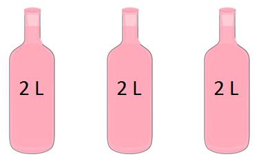 Tolitersflasker, 3 stykker. Bilde.
