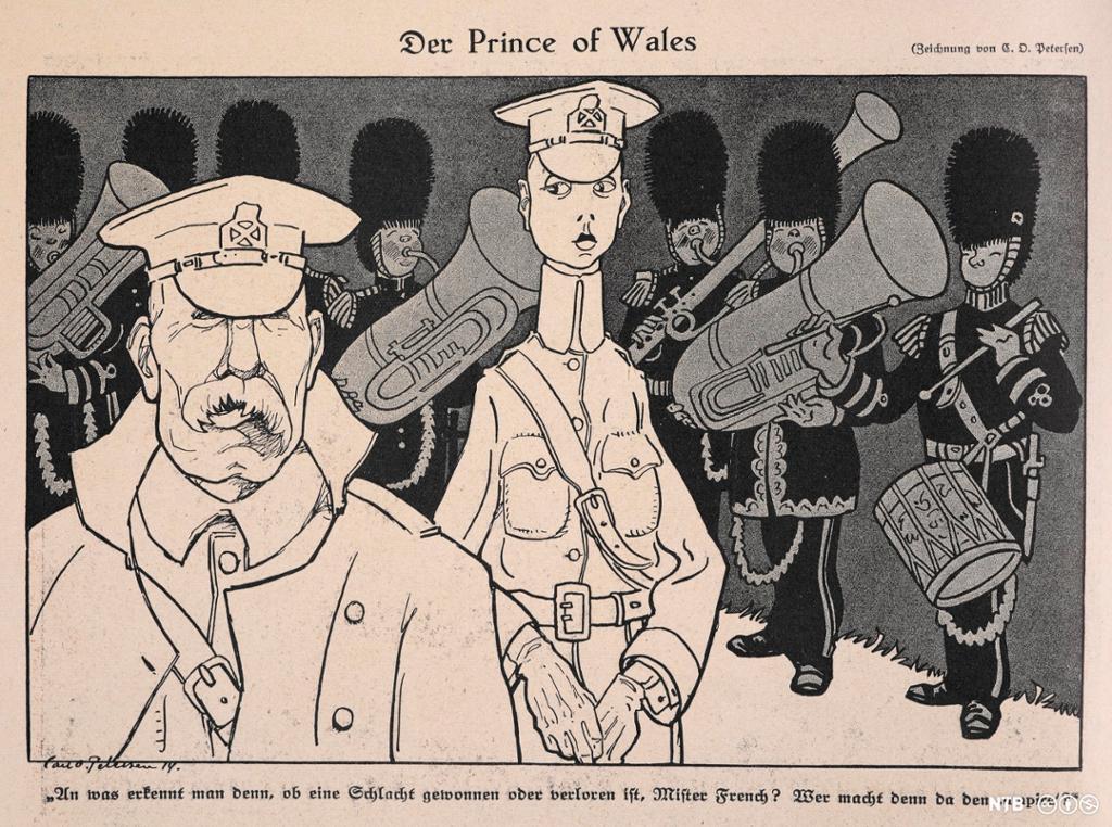 Mann med bart og en tynn mann med feminine trekk, Bak et hornorkester. Illustrasjon.