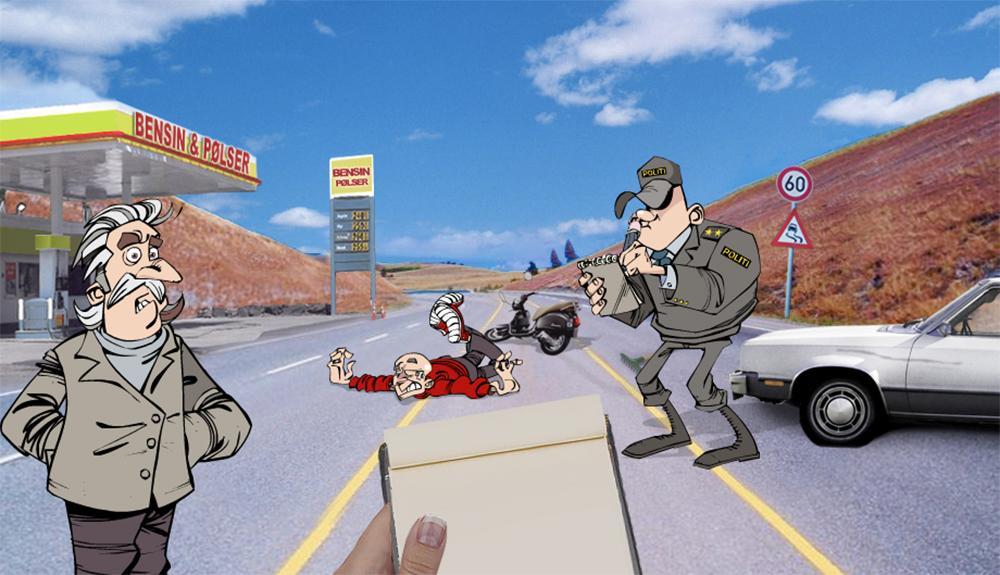 En motorsyklist ligger på asfalten. Et vitne og en politimann snakker med en journalist. Illustrasjon.