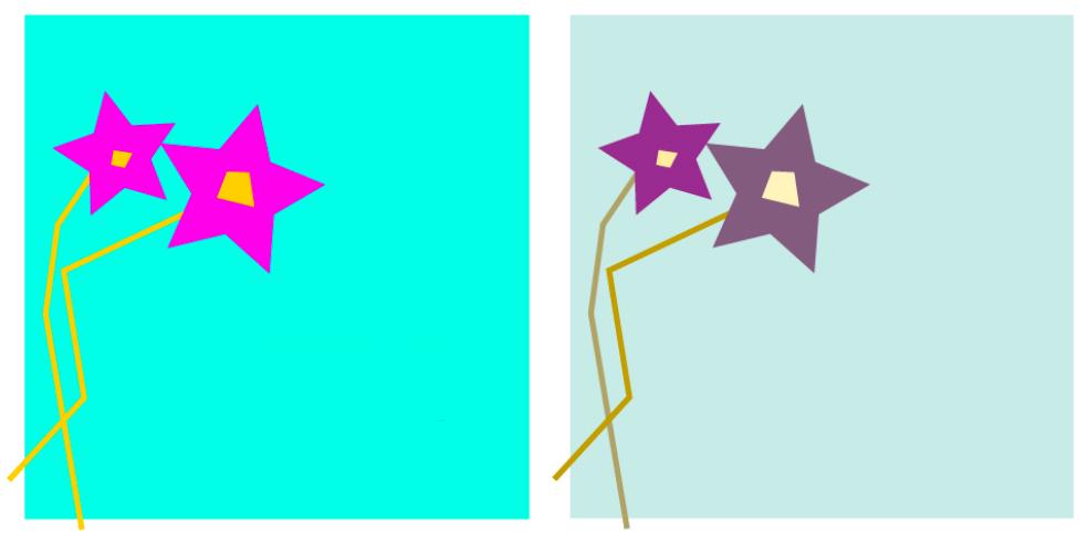 Sammenstilling av fargebruk i to blomster. Illustrasjon.