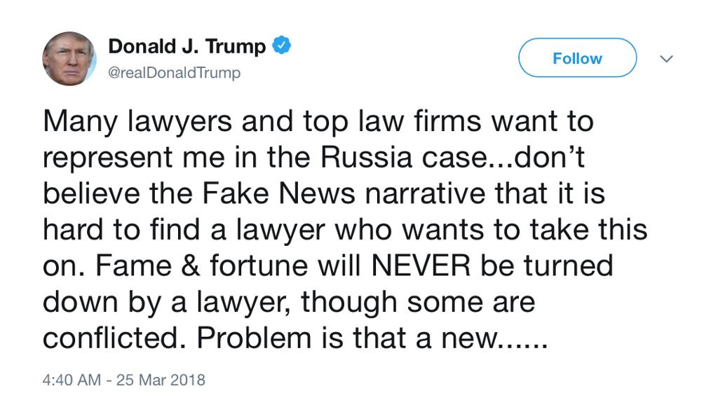 Twittermelding fra Donald Trump.