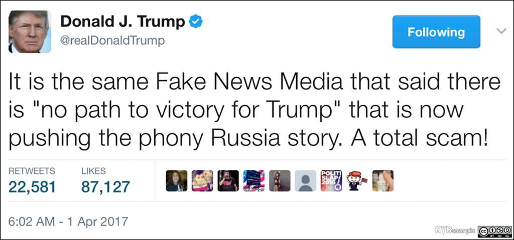 Twittermelding fra president Trump der han beskylder pressen for å komme med falske nyheter. Fakisimile.