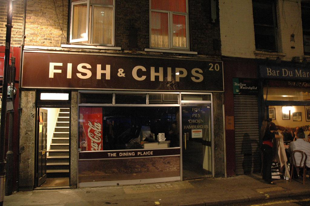 Fish and chips restaurant. Photo.