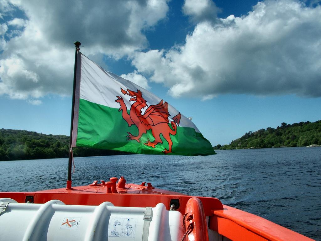 Boat front with welsh flag. photo
